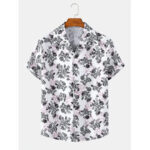 New              Mens Floral Print Revere Collar Casual Short Sleeve Shirts