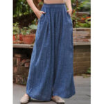 New              Women Vintage Solid Color Casual Wide Leg Pants with Pockets