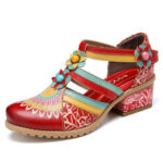 New              SOCOFY Bohemia Ethnic Style Stitching Embossed Beading Floral Chunky Heel Pumps