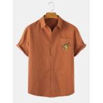 New              Mens Cartoon Bee Print Pocket Short Sleeve Casual Shirts