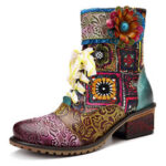 New              SOCOFY Cowgirl Casual Genuine Leather Floral Splicing Zipper Square Heel Ankle Boots