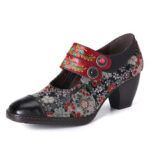 New              SOCOFY Retro Flower Printing Bead Buckle Strap Genuine Leather Low Heel Zipper Pumps