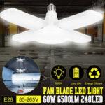 New              E26 Deformable Four-Blades LED Ceiling Light Bulb Foldable Garage Lighting Shop Workshop Lamp AC85-265V