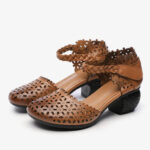 New              SOCOFY Retro Leather Cutout Floral Braided Ankle Strap Chunky Heel D'orsay Pumps