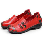 New              SOCOFY Retro Flowers Printing Comfy Soft Sole Casual Leather Flat Shoes