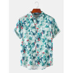 New              Mens Leaves Print Hawaii Holiday Short Sleeve Shirts