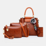 New              Women 4PCS Casual Handbag Solid Crocodile Pattern Fluffy Ball Shoulder Bag