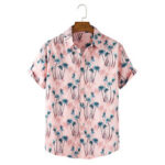 New              Mens Coconut Tree Print Tropical Holiday Casual Light Short Sleeve Shirts