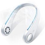 New              1200mAh/1800mAh Portable Neck Hanging Leafless Fan 3 Adjustable Wind Speed USB Rechargeable Double Head Cooling Fan