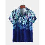 New              Mens Plant Leaf Print Light Casual Revere Collar Short Sleeve Shirts