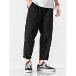 New              Banggood Designed Mens 100% Cotton Stripe Drawstring Fit Comfy Casual Pants
