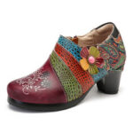 New              SOCOFY Retro Embossed Pattern Splicing Florals Slip On Zipper Pumps