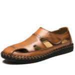 New              Men Cowhide Leather Hand Stitching Non Slip Soft Sole Casual Sandals