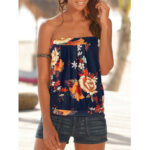 New              Navy Floral Print Ethnic Style Strapless Sleeveless Tube Tank Top