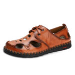 New              Men Hand Stitching Leather Non Slip Soft Sole Outdoor Casual Sandals