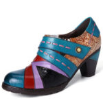 New              SOCOFY Retro Fancy Embossed Pattern Genuine Leather Splicing Stylish Casual Pumps