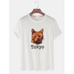 New              Mens Tokyo Cat Print Breathable Loose Light Round Neck T-Shirt