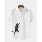 New              Cotton Mens Funny Cartoon Cat Print Short Sleeve Shirts