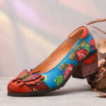New              SOCOFY Vintage Hand Painted Flowers Pattern Splicing Butterfly Genuine Leather Slip On Pumps