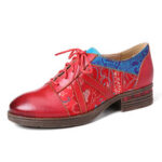 New              SOCOFY Retro Embossed Flower Splicing Genuine Leather Lace Up Block Shoes