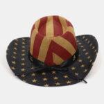 New              Vintage American Flag Westren Cowboy Style Panama Hat Summer Prairie Straw Hat For Male