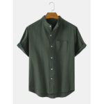 New              Solid Color Stand Collar Cotton & Linen Short Sleeve Shirts