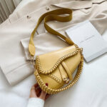 New              Women Irregular Shape Solid Saddle Bag Shoulder Bag Crossbody Bag