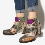 New              SOCOFY Splicing Snake-Skin Adjustable Warm Lined Stacked High Heel Side-zip Ankle Boots