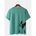 New              Mens Cotton French Bulldog Print Solid Color Breathable Loose O-Neck T-Shirts