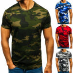 New              Men's Casual T-shirt Breathable Thin Short Sleeve Camouflage Digital Printing Round Neck Top Hiking Fishing Training