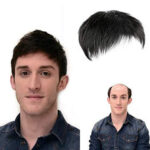 New              Natural Black Short Men Topper Wig Real Human Hair Toupee Clip For Male Guy Daily Wear