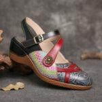 New              SOCOFY Retro Leather Painted Flower Hook Loop Slingback Mules Wedges Sandals