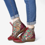 New              SOCOFY Folkways Pattern Red Genuine Leather Soft Flat Ankle Boots For Womens