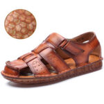 New              Men Cow Leather Non Slip Soft Sole Hook Loop Closed Toe Casual Sandals