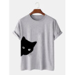 New              Mens 100% Cotton Cute Cartoon Cat Print Breathable Casual Short Sleeve T-Shirts