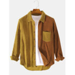 New              Banggood Design Corduroy Patchwork Turn Down Collar Chest Pocket Long Sleeve Shirts