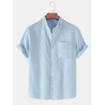 New              Design Stripe Stand Collar Short Sleeve Cotton Breathable Shirts With Pocket