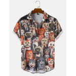 New              Mens Halloween Allover Funny Cat Print Casual Loose Fit Short Sleeve Shirts