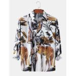 New              Mens Hand-Painted Abstract Animal Print Light Long Sleeve Shirts