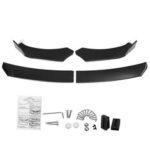New              4Pcs Car Universal Bumper Carbon Fiber Look Front Lip Chin Bumper Body Kits