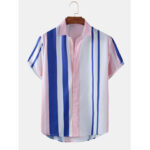 New              Mens Colorful Striped Print Light Short Sleeve Summer Casual Shirts