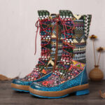 New              SOCOFY Embossed Splicing Colorful Woollen Round Toe Lace Up Zipper Flat Tall Boots