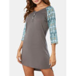 New              Plus Size Women Patchwork V-Neck Front Button 3/4 Sleeve Nightdress