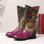 New              SOCOFY Women's Splicing Tribal Pattern Basel Mid-calf Zipper Western Boots