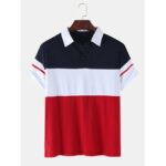 New              Mens Color Block Patchwork Casual Short Sleeve Golf Shirt