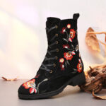 New              SOCOFY Embroidered Pattern All Black Winter Warm Cozy Zipper Lace Up Flat Boots