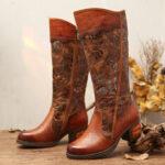 New              SOCOFY Zipper Splicing Pattern Floral Side Zipper Outside Square Heel Boots