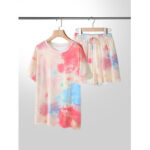 New              Plus Size Women Tie-Dye Short Sleeve Drawstring Casual Pajama Set
