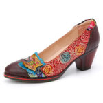 New              SOCOFY Vintage Butterfly Embossed Floral Leather Splicing Stitching Slip-on Chunky Heel Pumps