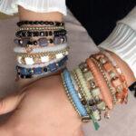 New              Bohemian Turquoise Handmade Beaded Crystal Bracelet Square Beaded Metal Pendant Multi-layer Bracelet
